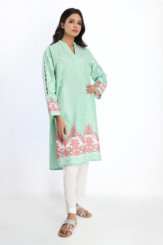 khaadi Cambric green printed kurta
