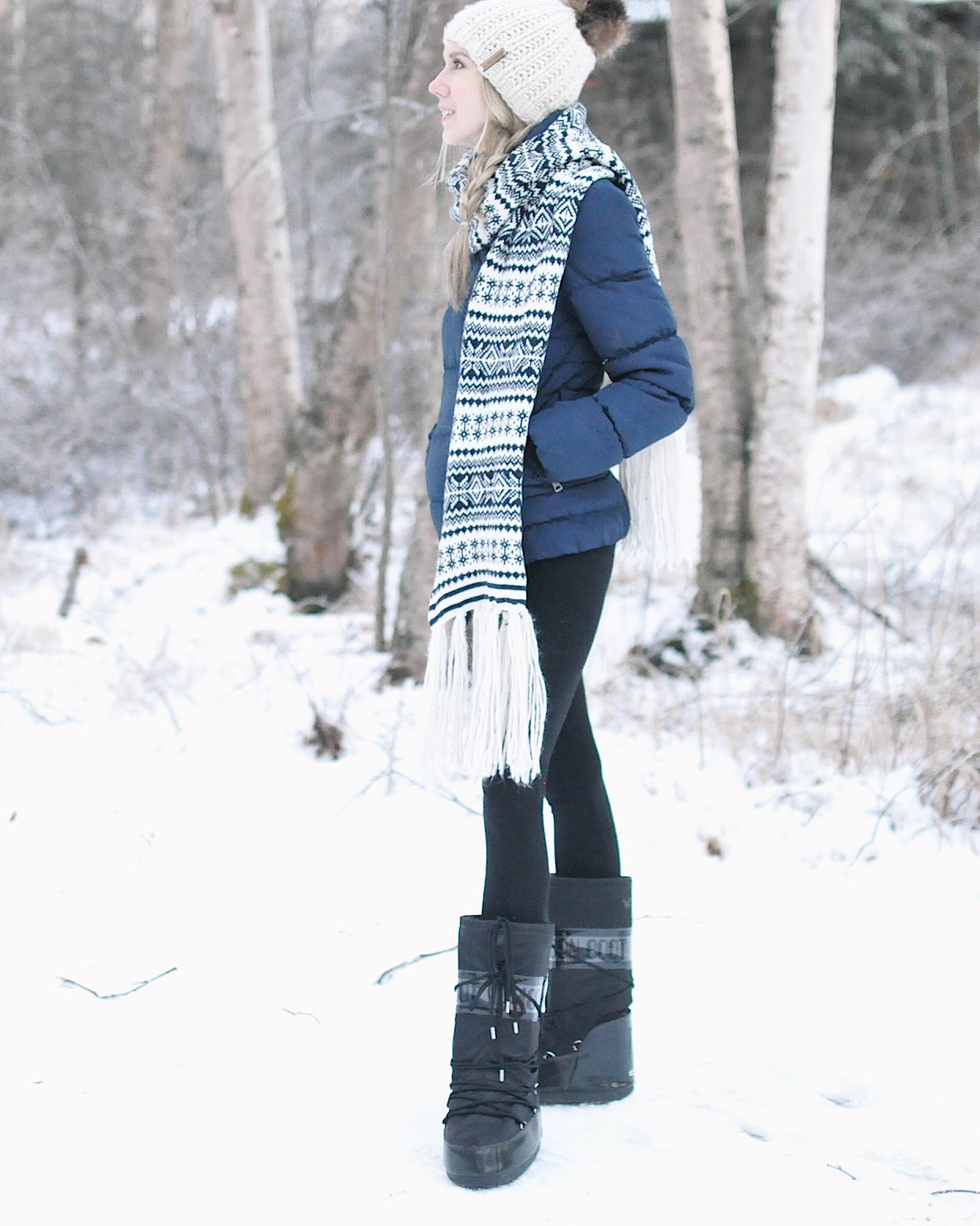 puffer coat scarf winter outfit