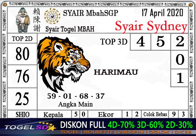 Prediksi Togel Sidney 16 April 2020 - Syair Mbah SD