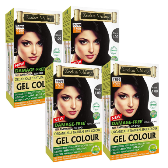 Indus Valley Damage Free Gel Colour For Hair Black 1.0, Ammonia Free Hair Color set of 4