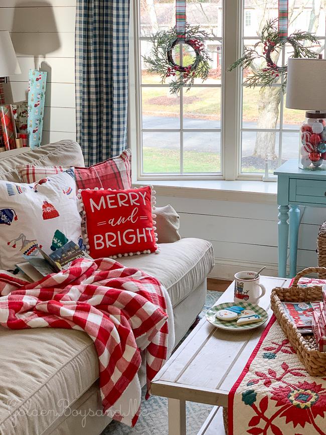 Whimsical holiday decor in a Christmas living room - www.goldenboysandme.com
