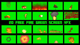 Animated fire effects set against a green screen background.