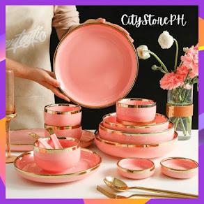 Nordic Elegant Ceramic Plate Bowls Pink Ceramic Dinner Plates