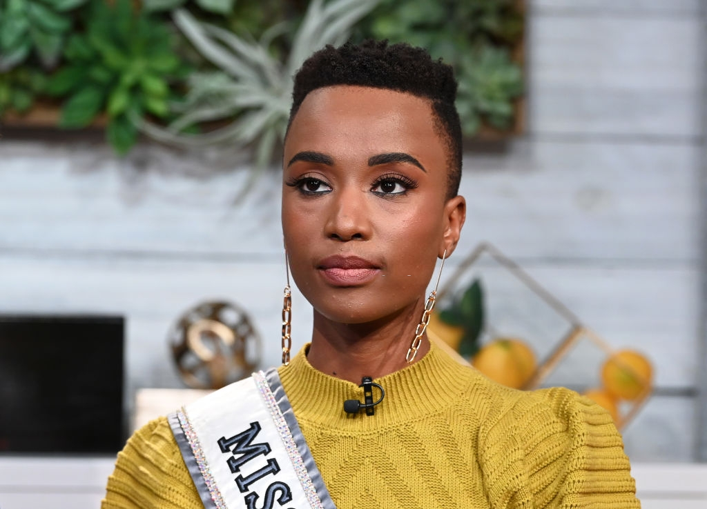 """Miss Universe 2019 Zozibini Tunzi visits BuzzFeed's """"AM To DM"""" on February 28, 2020 in New York City. (Photo by Slaven Vlasic/Getty Images)"""