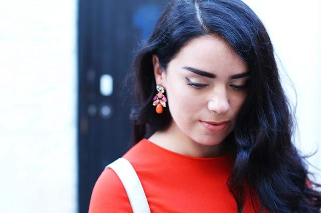 Orange dress and earrings - London fashion blogger Emma Louise Layla