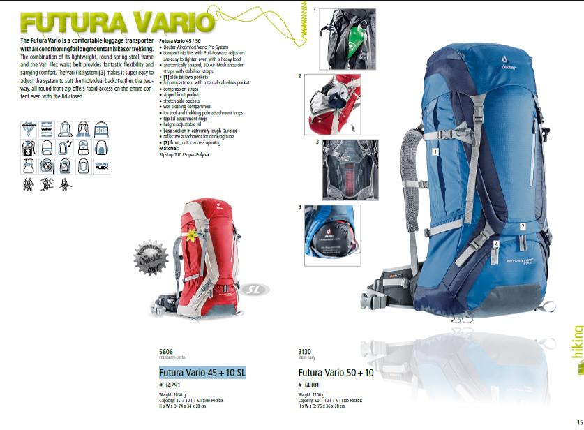 ein paar Tage entfernt Auschecken neue Kollektion ORIGINAL DEUTER MALAYSIA: Futura Vario 45 + 10 SL