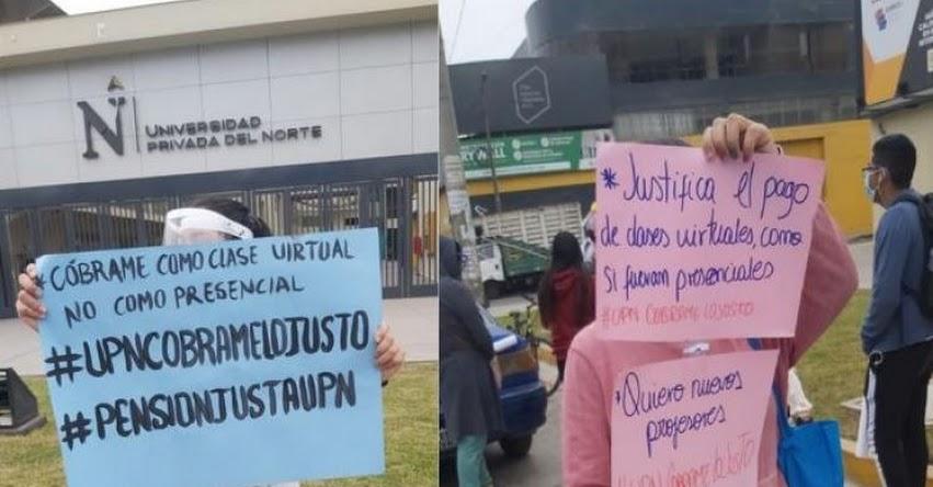 UPN: Alumnos de la Universidad Privada del Norte - SJL, protestan porque no les reducen pensión y además les pretenden cobrar moras y pagos administrativos pese a crisis económica [VIDEO]