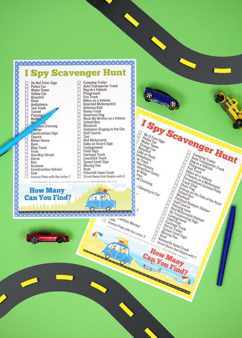 I spy road trip scavenger hunt for kids