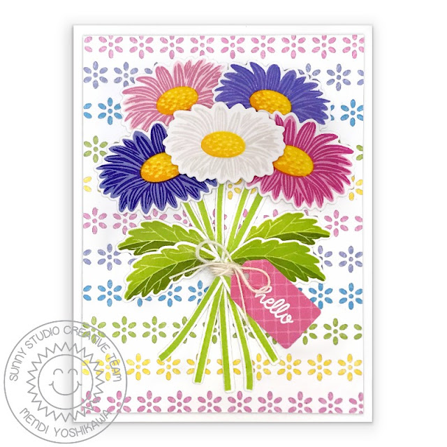 Sunny Studio Blog: Gerber Daisy Bouquet Hello Card with Flower Background (using Cheerful Daisies Stamps, Eyelet Lace Border Dies & Spring Fling 6x6 Paper)