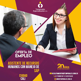 Empleo en Cali como ASISTENTE DE RECURSOS HUMANOS - SAP