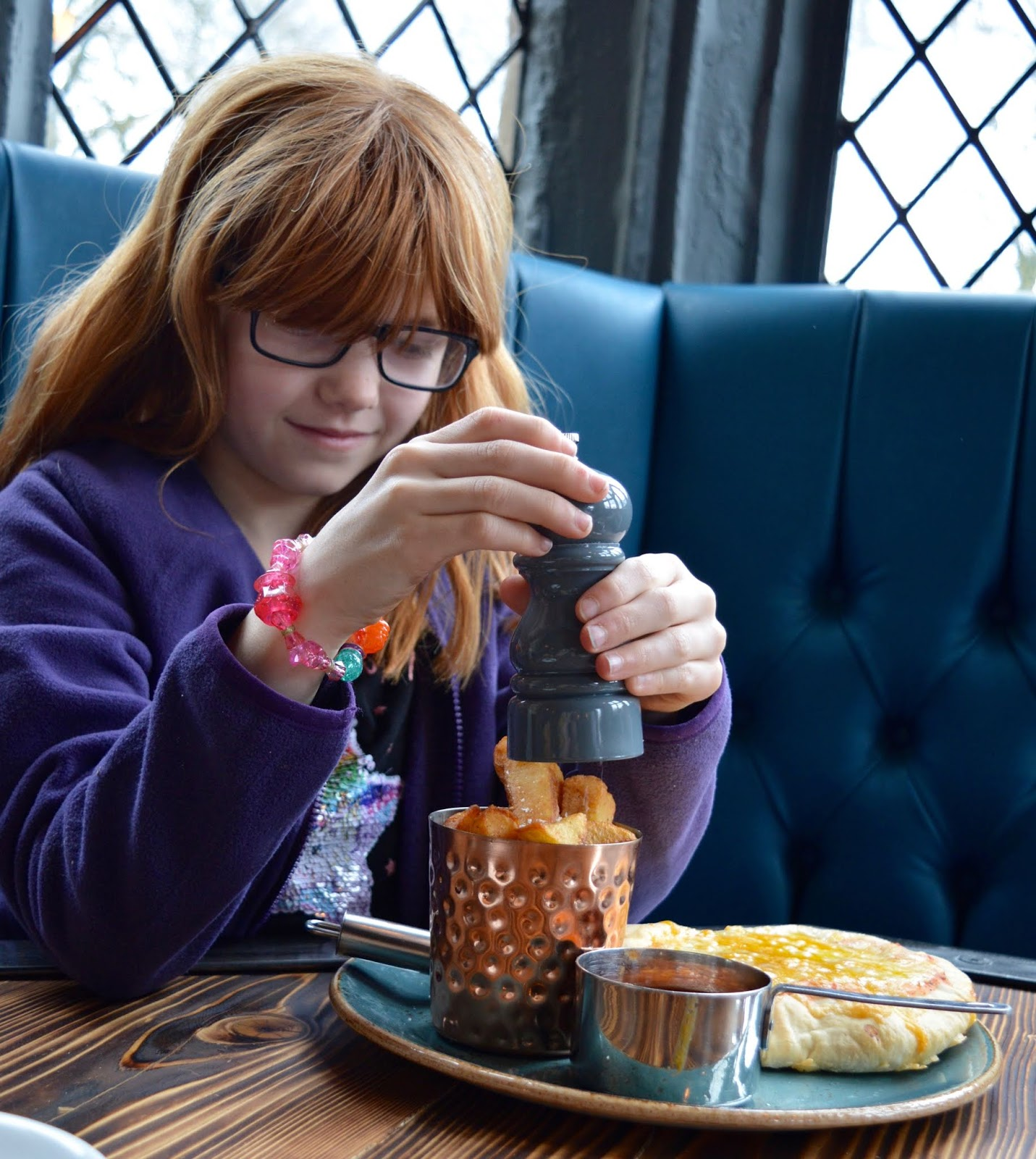 Sunday Lunch, Playgrounds & Birds of Prey at Walworth Castle, Darlington  - kids pizza and chips