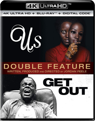 Cover art for a double feature 4K UHD of Jordan Peele's US and GET OUT.