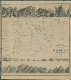 A printed map of the White Mountains. The top and bottom borders are illustrated with mountains.