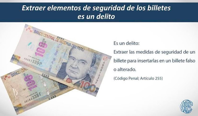 Billete de 100 soles Falso