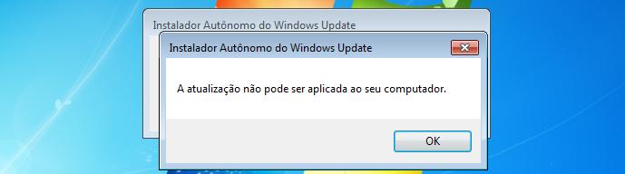 A atualização não pode ser aplicada ao seu computador