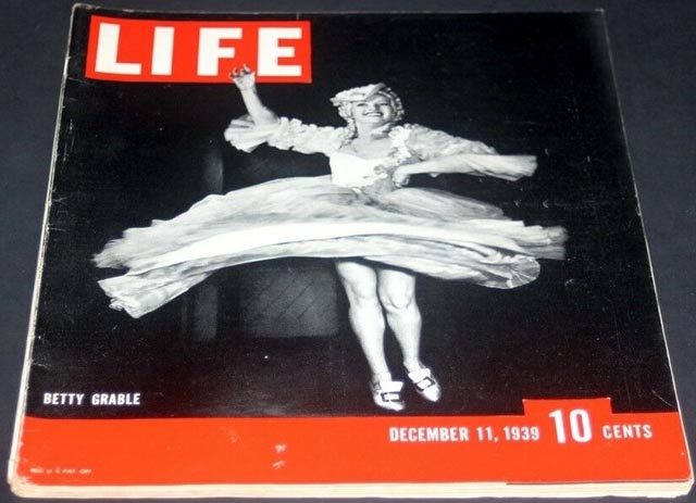 Betty Grable on the cover of Life magazine, 11 December 1939 worldwartwo.filminspector.com