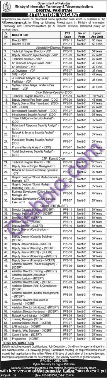 Ministry of IT & Telecommunication MOITT Jobs 2021 – www.njp.gov.pk