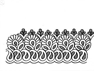 Said ka Kinara Drawing/cutwork border of hand embroidery/ hater kajer Dizain/ saree border sketch