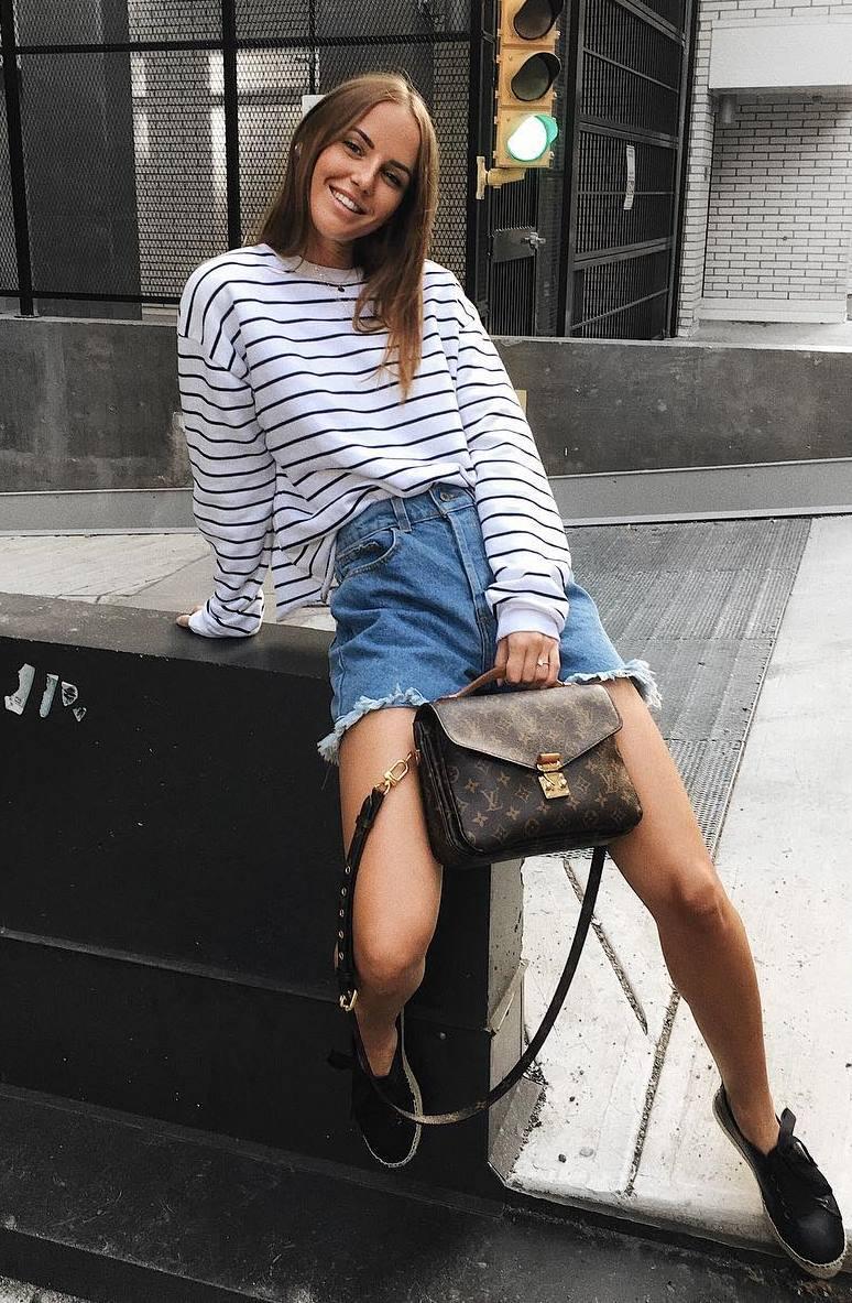 how to style a denim skirt : brown crossbody bag + striped top + platform espadrilles