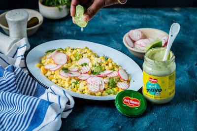 Corn Salad with Radishes, Jalapeño, and Lime in Del Monte Mint Mayonnaise