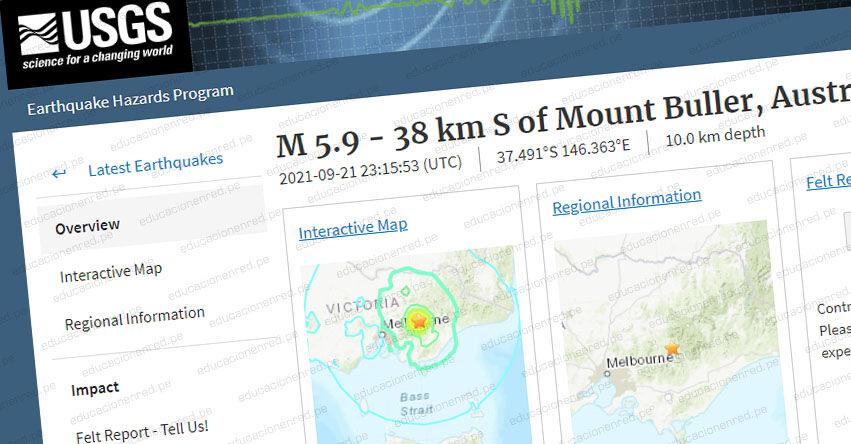 Terremoto en Australia de Magnitud 5.9 y Alerta de Tsunami (Hoy Martes 21 Septiembre 2021) Sismo - Temblor - Epicentro - Mount Buller - Melbourne Victoria - USGS