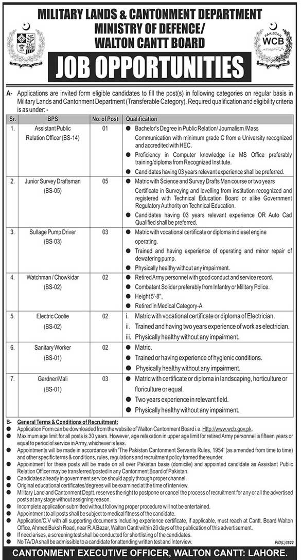 Ministry Of Defense Govt Of Pakistan Jobs 2019 May