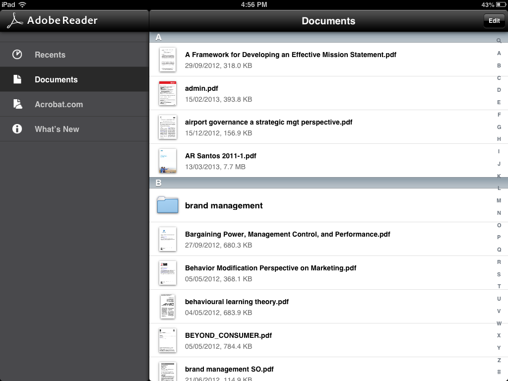 Adobe reader for iPad view