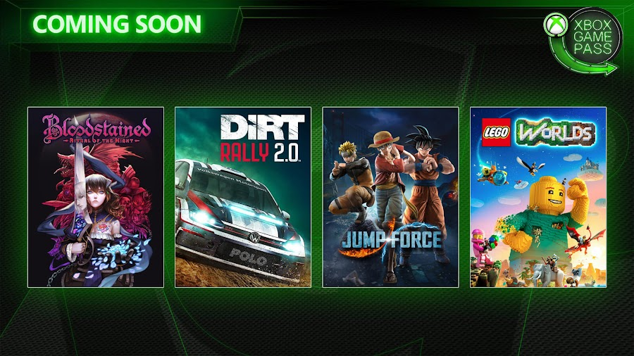 xbox game pass bloodstained ritual of the night dirt rally 2.0 jump force lego worlds xb1 2019