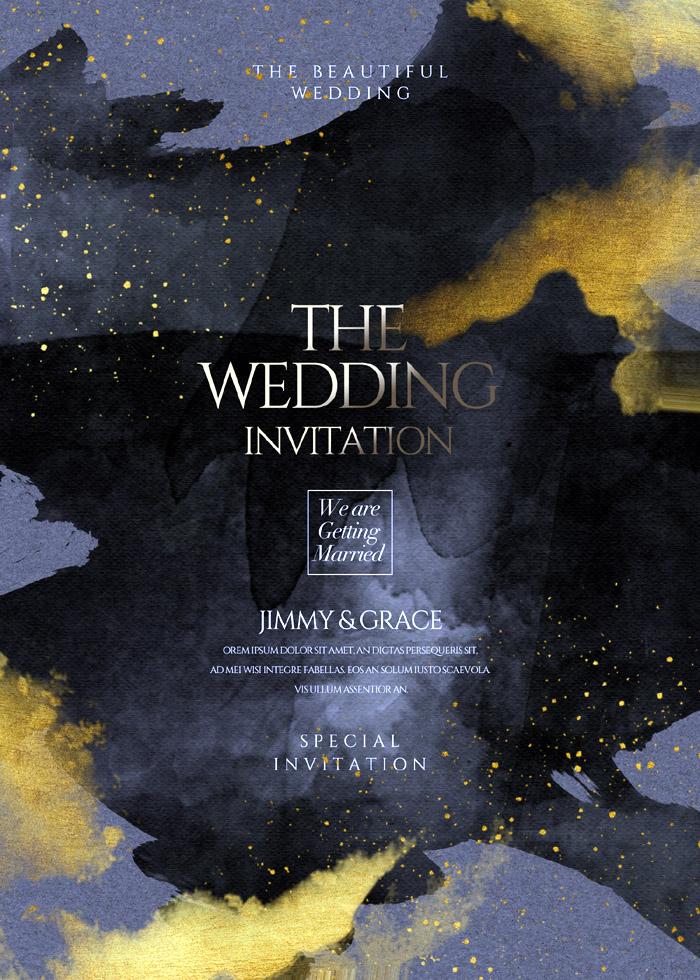Fashion Gold High End Wedding Invitation