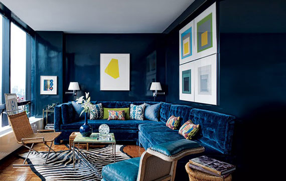 Dark Colors Aren T Usually Considered When Planning Color Schemes But This Room Again With A Limited Palette Makes Navy Work And It S All Over The