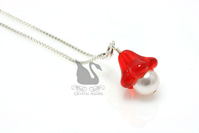 Czech Red Flower Blossom Pearl Pendant (P05-R)