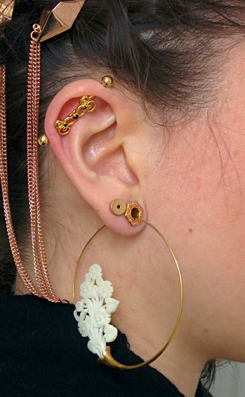 Here I Was Easily Able To Fit An 8g Hoop That S The Size Of My Second Holes M Wearing Normal Pentagram Earrings Through Earskin There