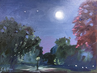moon painting with oil paints in the night sky