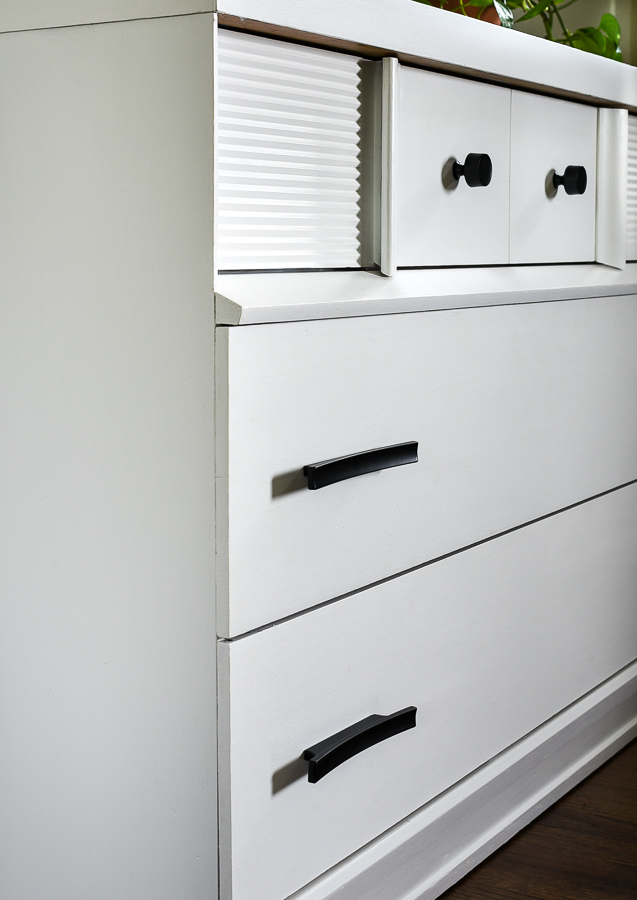 White MCM dresser with black hardware