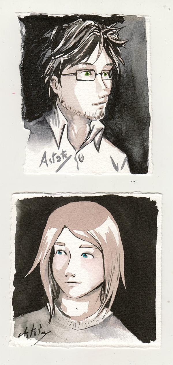 Portrait de Matt et Lancelot à l'encre Sennelier