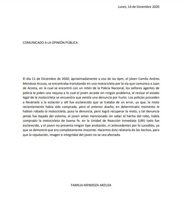 COMUNICADO A LA OPINIÓN PÚBLICA DE LA FAMILIA MENDOZA ARZUZA