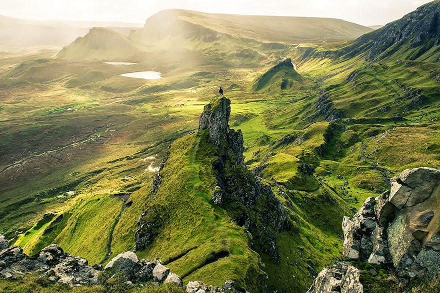Green for miles in Quiraing landslip, Skye, Scotland - Tiny Humans Lost In The Majesty Of Nature