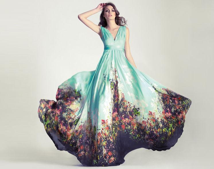 Vestidos largos de flores boda