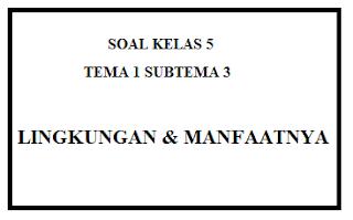 Soal Kelas 5 Tema 1 Subtema 3 Lingkungan dana Mafaatnya