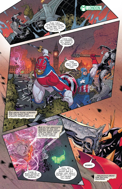 Captain Britain and Captain America fighting the Dark elves at London