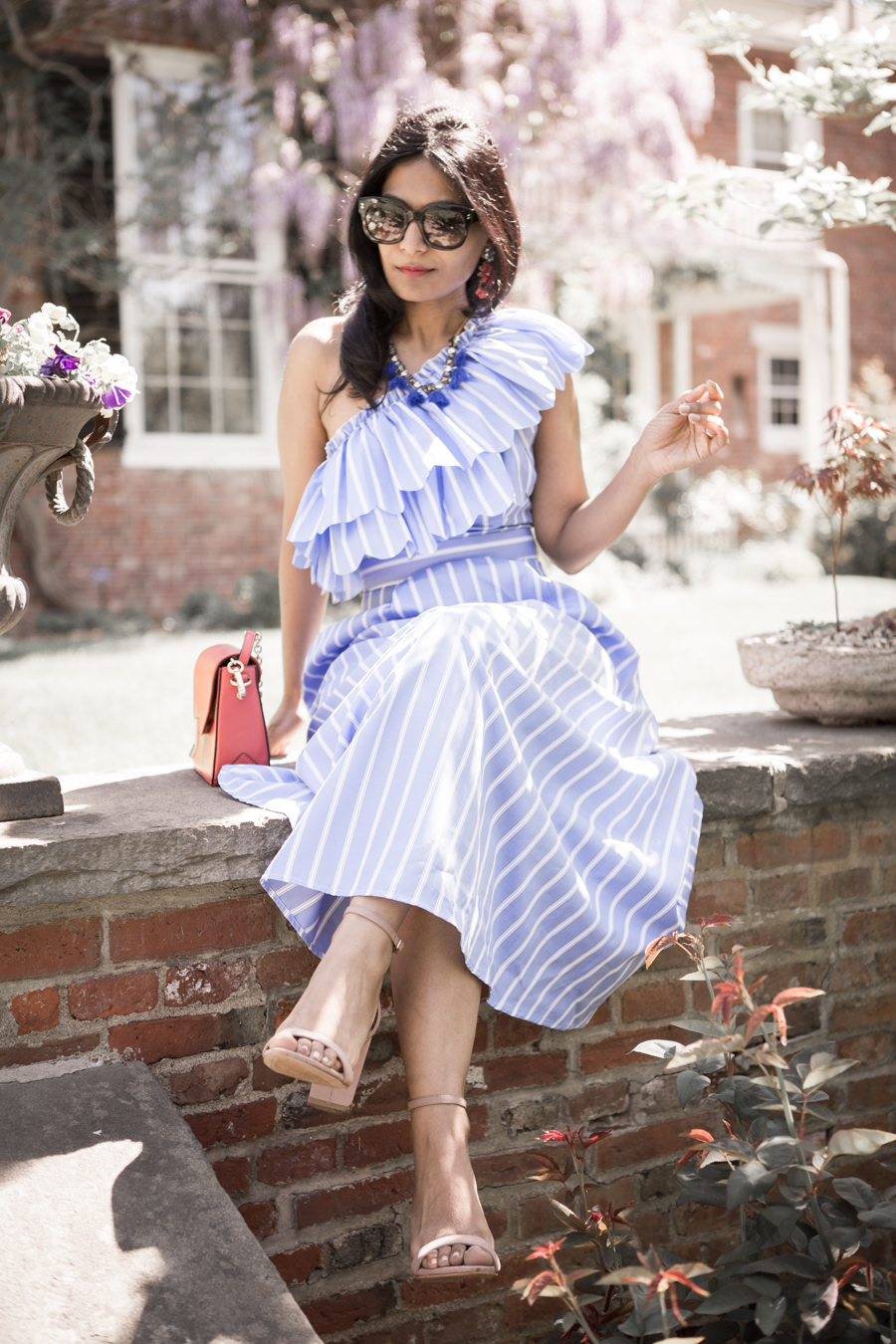 garden party, memorial day dress, new england estates, what to wear, nordstrom sale picks, shein, off the shoulder, ruffles, feminine, j.crew factory, ann taylor, vince camuto, nude heels, fashion blogger, petite blogger, 40 plus fashion, occasion wear, wedding guest dress
