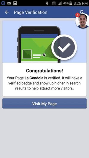 سترى رسالة تفيد بأنه تم التحقق من صفحتك على Facebook.
