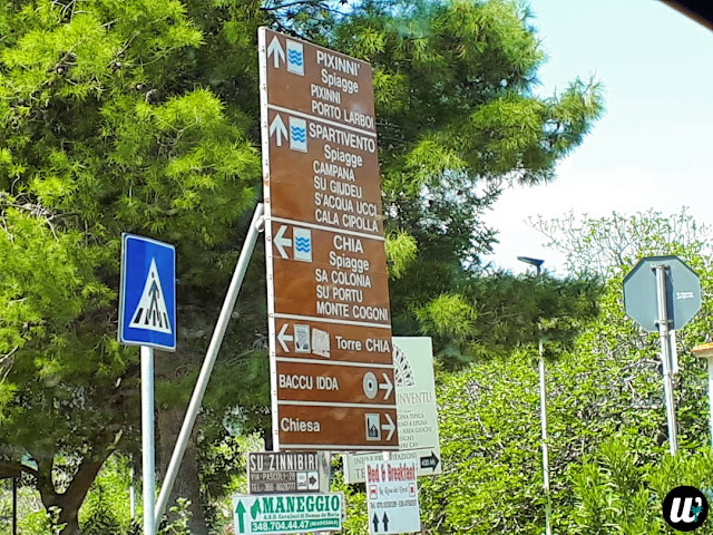 Roads signs to nearest beaches, driving | Sardinia, Italy | wayamaya