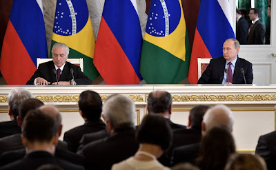 Vladimir Putin and Michel Temer. Press statements following Russian-Brazilian talks.