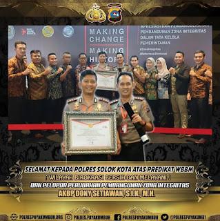 Kapolres Payakumbuh, AKBP Dony Setiawan Terima Penghargaan dari Kemen-PAN RB
