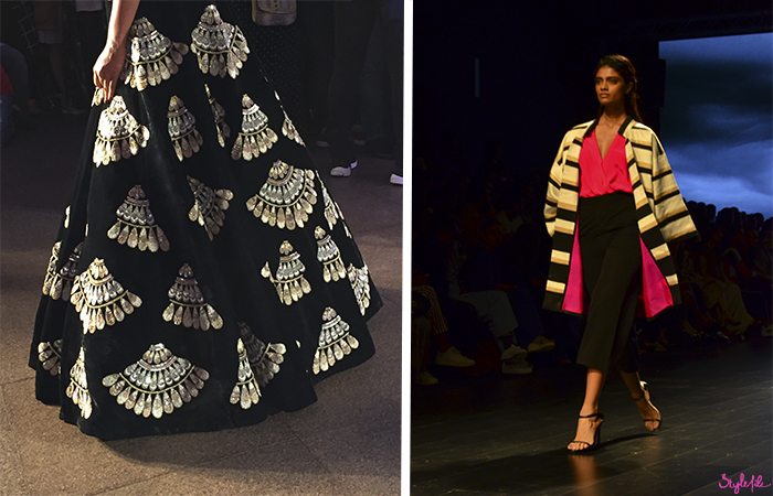 Models wear women's fashion clothing for Indian designers Manish Malhotra and Atsu at Lakme Fashion Week in Mumbai India