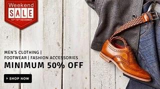 Weekend Offer: Minimum 50% Off on Men's Clothing | Women's Clothing | Men's Footwear | Women's Footwear | Bags, Wallets & Belts | Watches | Sunglasses @ Flipkart