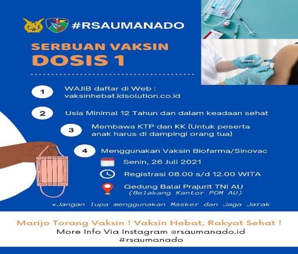 Rumah Sakit TNI AU Sam Ratulangi Manado Persiapkan Kembali Serbuan Vaksinasi