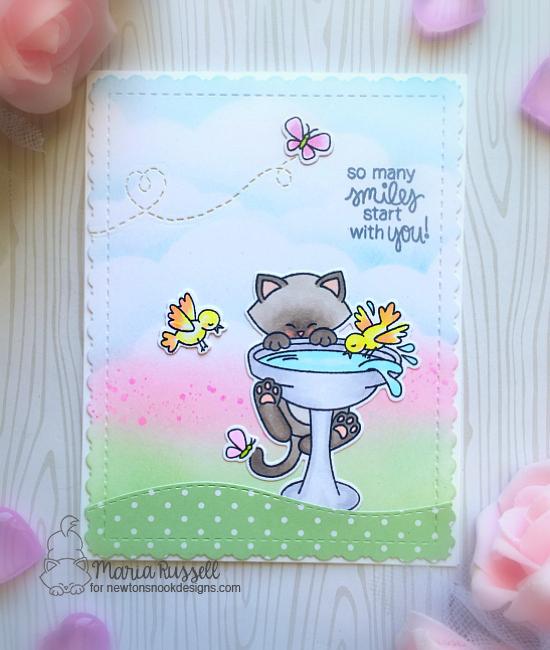 Cat on Birdbath Card by Maria Russell | Newton's Birdbath Stamp set by Newton's Nook Designs #newtonsnook