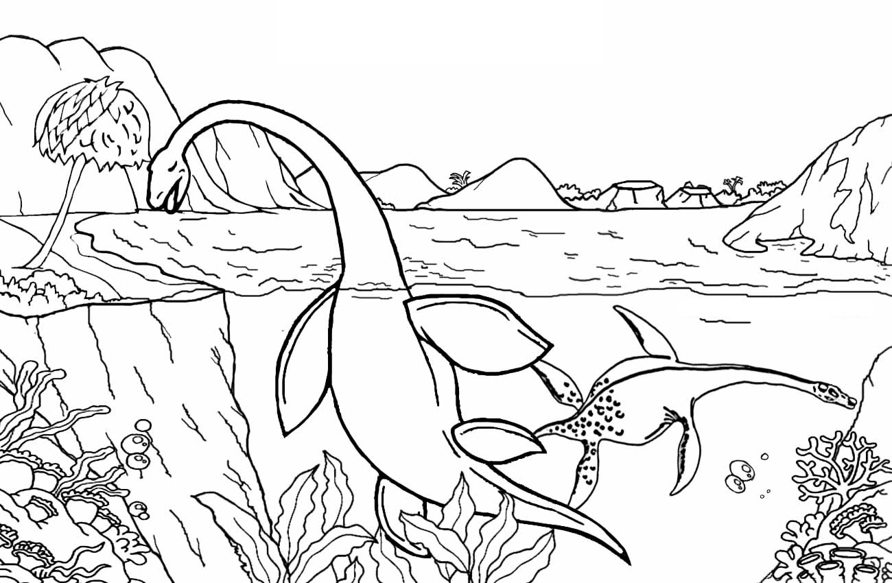 Kronosaurus In The Lake Coloring Page